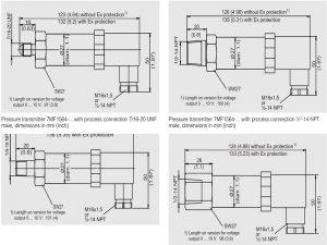 Thông số kích thước cảm biến áp suất Siemens 7MF1564